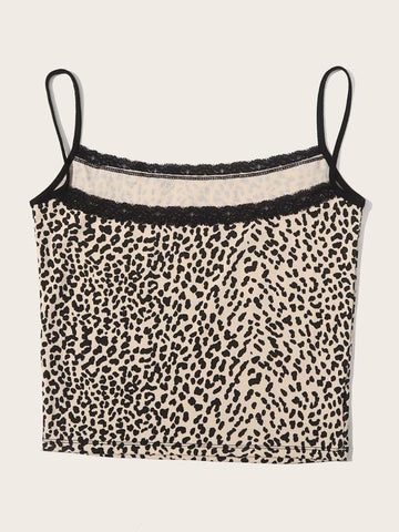 Lace Trim Leopard Print Cami Top - INS | Online Fashion Free Shipping Clothing, Dresses, Tops, Shoes