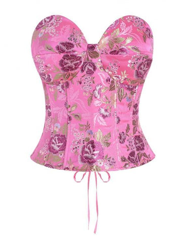 Lace Up Floral Jacquard Oriental Corset Top - INS | Online Fashion Free Shipping Clothing, Dresses, Tops, Shoes