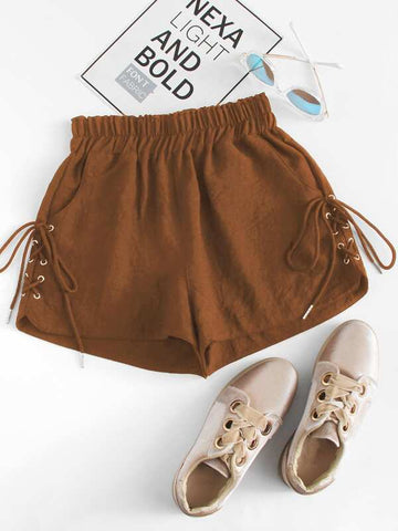 Lace-Up High-Rise Shorts - INS | Online Fashion Free Shipping Clothing, Dresses, Tops, Shoes