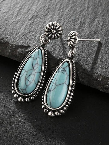 Ladies antique silver turquoise earrings drop-shaped turquoise exaggerated earrings - INS | Online Fashion Free Shipping Clothing, Dresses, Tops, Shoes