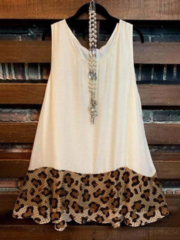 Ladies stitched leopard print sleeveless top - INS | Online Fashion Free Shipping Clothing, Dresses, Tops, Shoes