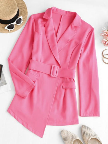 Lapel Belted Flap Detail Blazer - INS | Online Fashion Free Shipping Clothing, Dresses, Tops, Shoes