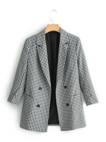 Lapel Collar Double Breasted Gingham Blazer - INS | Online Fashion Free Shipping Clothing, Dresses, Tops, Shoes