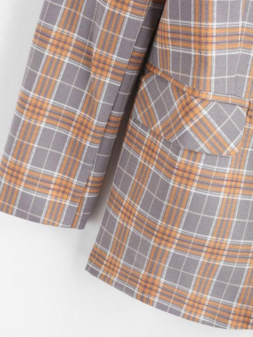 Lapel Flap Detail Plaid Blazer - INS | Online Fashion Free Shipping Clothing, Dresses, Tops, Shoes