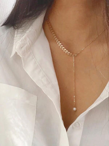 Leaf Detail Lariat Necklace 1pc - INS | Online Fashion Free Shipping Clothing, Dresses, Tops, Shoes