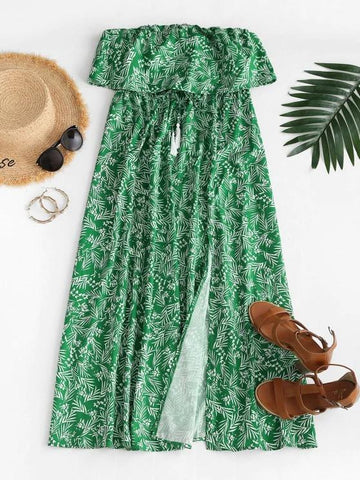 Leaf Print Flounce Slit Strapless Maxi Dress - INS | Online Fashion Free Shipping Clothing, Dresses, Tops, Shoes