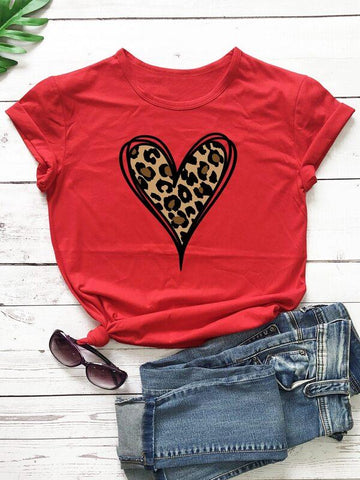 Leopard And Heart Print Tee - INS | Online Fashion Free Shipping Clothing, Dresses, Tops, Shoes
