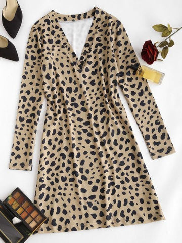 Leopard Animal Print Long Sleeve Tight Dress - INS | Online Fashion Free Shipping Clothing, Dresses, Tops, Shoes