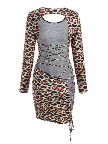 Leopard Backless Lace-up Slinky Dress - INS | Online Fashion Free Shipping Clothing, Dresses, Tops, Shoes