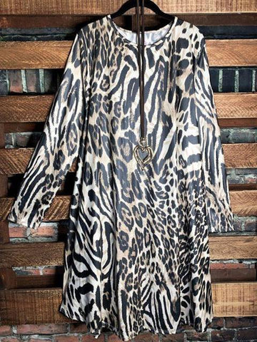 Leopard Cotton-Blend Leopard Long Sleeve Dresses - INS | Online Fashion Free Shipping Clothing, Dresses, Tops, Shoes
