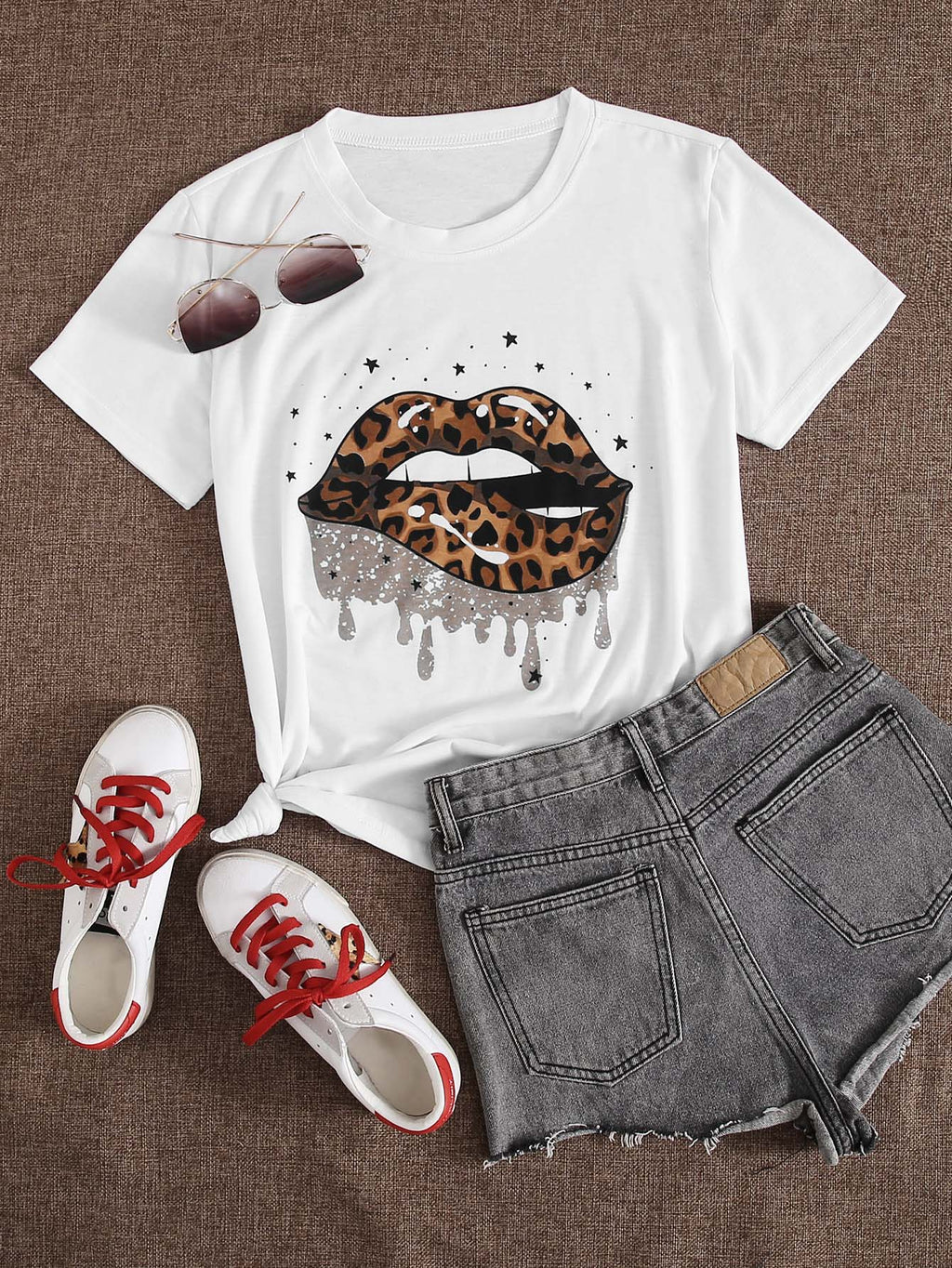 Leopard Lip Print Short Sleeve Tee - INS | Online Fashion Free Shipping Clothing, Dresses, Tops, Shoes