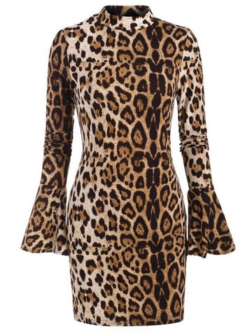Leopard Mock Neck Long Sleeve Bodycon Dress - INS | Online Fashion Free Shipping Clothing, Dresses, Tops, Shoes