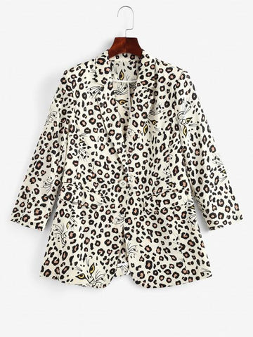 Leopard Padded Shoulder One Button Blazer - INS | Online Fashion Free Shipping Clothing, Dresses, Tops, Shoes