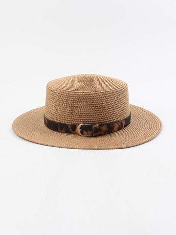 Leopard Pattern Band Decor Straw Hat - INS | Online Fashion Free Shipping Clothing, Dresses, Tops, Shoes