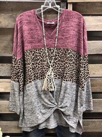 Leopard Print Colorblock Splicing Casual T-Shirt - INS | Online Fashion Free Shipping Clothing, Dresses, Tops, Shoes