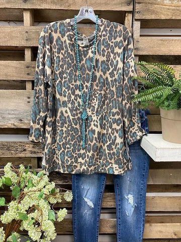 Leopard Print Round Neck Split Basic T-Shirt - INS | Online Fashion Free Shipping Clothing, Dresses, Tops, Shoes