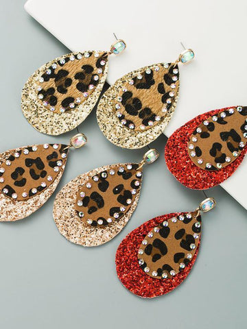 Leopard print sequin earrings female boho style diamond earrings - INS | Online Fashion Free Shipping Clothing, Dresses, Tops, Shoes