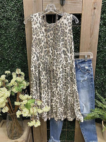 Leopard Print Simple Casual Dress - INS | Online Fashion Free Shipping Clothing, Dresses, Tops, Shoes