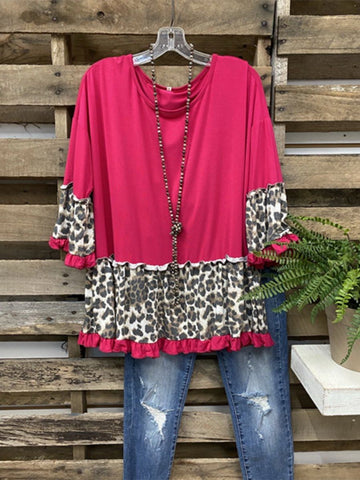 Leopard Print Solid Color Stitching Ruffled Sleeve T-Shirt - INS | Online Fashion Free Shipping Clothing, Dresses, Tops, Shoes