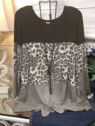 Leopard Print Stitching Knotted Casual T-shirt - INS | Online Fashion Free Shipping Clothing, Dresses, Tops, Shoes