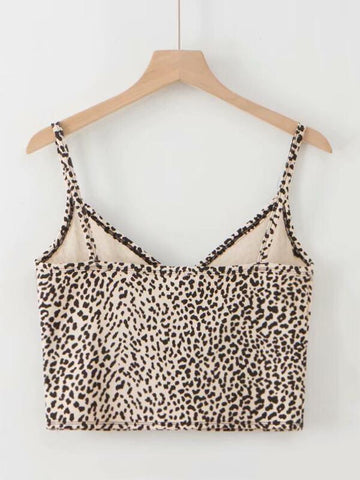 Leopard Print Surplice Cami Top - INS | Online Fashion Free Shipping Clothing, Dresses, Tops, Shoes