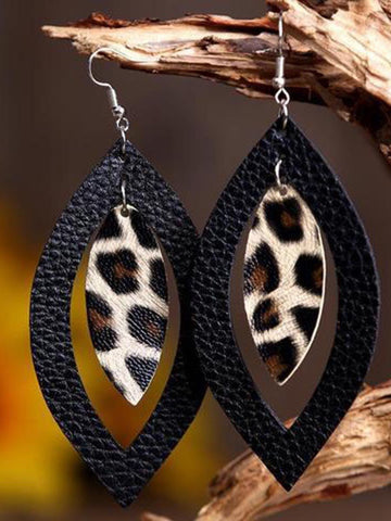 Leopard Printed Hollow Out Pendant Earrings - INS | Online Fashion Free Shipping Clothing, Dresses, Tops, Shoes