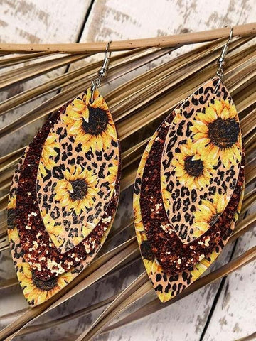 Leopard water-drop earrings 2021 Newest leather Sunflowers Print earring - INS | Online Fashion Free Shipping Clothing, Dresses, Tops, Shoes