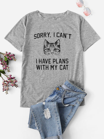 Letter And Cat Graphic Tee - INS | Online Fashion Free Shipping Clothing, Dresses, Tops, Shoes