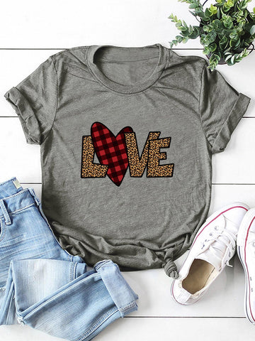 Letter And Heart Graphic Tee - INS | Online Fashion Free Shipping Clothing, Dresses, Tops, Shoes