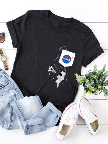 Letter & Cartoon Graphic Tee - INS | Online Fashion Free Shipping Clothing, Dresses, Tops, Shoes