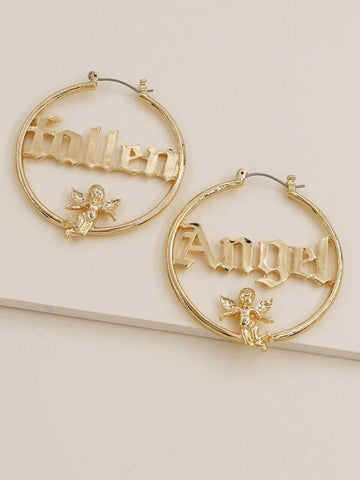 Letter Design Hoop Earrings - INS | Online Fashion Free Shipping Clothing, Dresses, Tops, Shoes