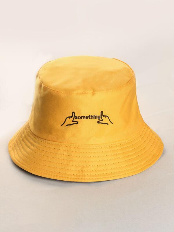 Letter Embroidered Bucket Hat - INS | Online Fashion Free Shipping Clothing, Dresses, Tops, Shoes