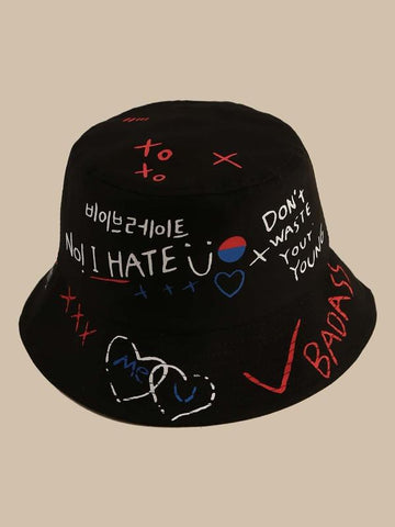 Letter Graphic Bucket Hat - INS | Online Fashion Free Shipping Clothing, Dresses, Tops, Shoes