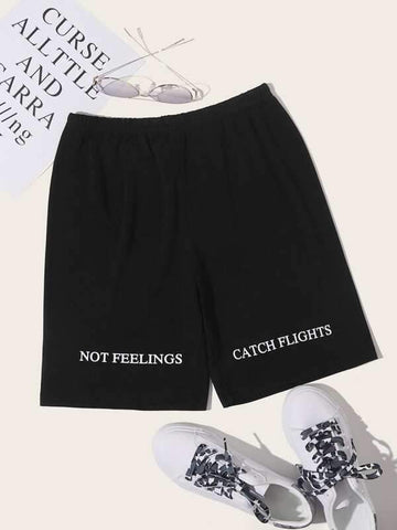 Letter Graphic Elastic Waist Biker Shorts - INS | Online Fashion Free Shipping Clothing, Dresses, Tops, Shoes