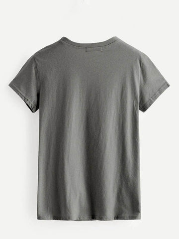 Letter Graphic Heathered Knit Tee - INS | Online Fashion Free Shipping Clothing, Dresses, Tops, Shoes