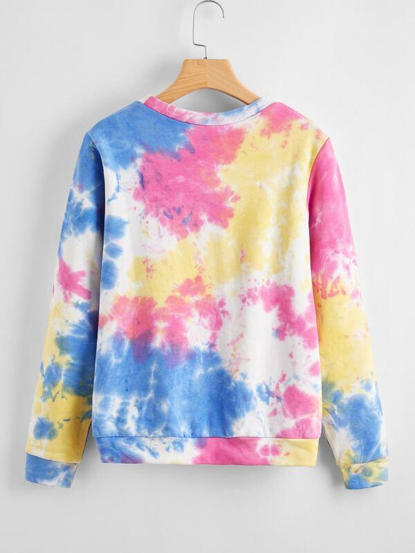 Letter Graphic Tie Dye Pullover - Sweatshirts - INS | Online Fashion Free Shipping Clothing, Dresses, Tops, Shoes - 01/29/2021 - Casual - Color_Pink