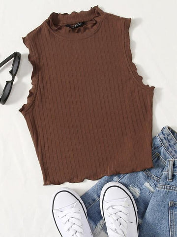 Lettuce Trim Rib-knit Tank Top - INS | Online Fashion Free Shipping Clothing, Dresses, Tops, Shoes