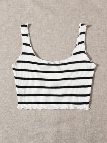 Lettuce Trim Striped Knit Top - INS | Online Fashion Free Shipping Clothing, Dresses, Tops, Shoes