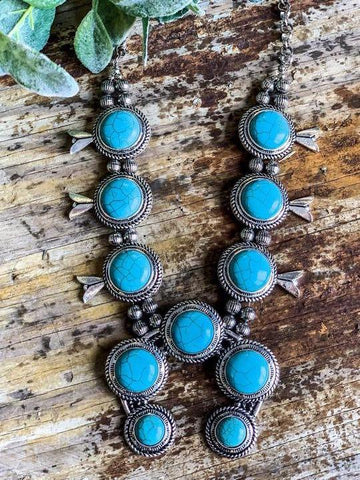 LINDA VIBES SILVER TURQUOISE NECKLACE - INS | Online Fashion Free Shipping Clothing, Dresses, Tops, Shoes