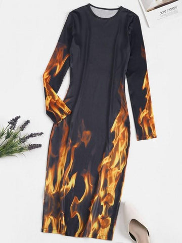 Long Sleeve Hot Flame Print Bodycon Dress - INS | Online Fashion Free Shipping Clothing, Dresses, Tops, Shoes