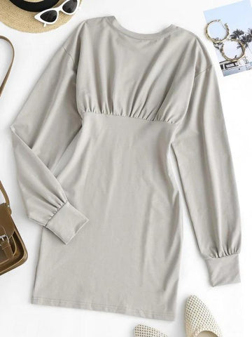 Long Sleeve Ruched Slinky Sweatshirt Dress - INS | Online Fashion Free Shipping Clothing, Dresses, Tops, Shoes