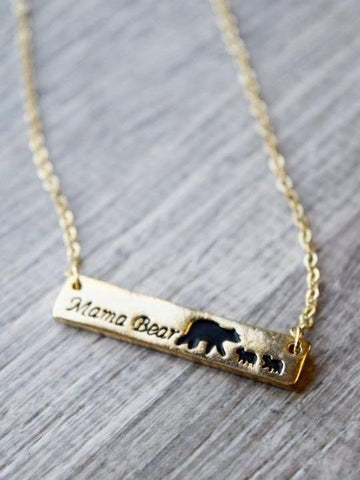 MAMA BEAR NECKLACE - GOLDEN - INS | Online Fashion Free Shipping Clothing, Dresses, Tops, Shoes