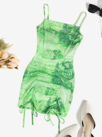 Mesh Dragon Print Sheer Ruched Cami Dress - INS | Online Fashion Free Shipping Clothing, Dresses, Tops, Shoes