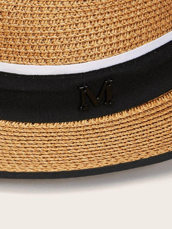 Metal Letter Decor Straw Hat - INS | Online Fashion Free Shipping Clothing, Dresses, Tops, Shoes