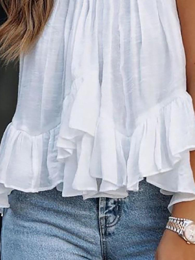 Mock Neck Ruched Ruffles Sleeveless Casual Top - Tank Tops - INS | Online Fashion Free Shipping Clothing, Dresses, Tops, Shoes - 27/04/2021 - Color_White - Season_Summer