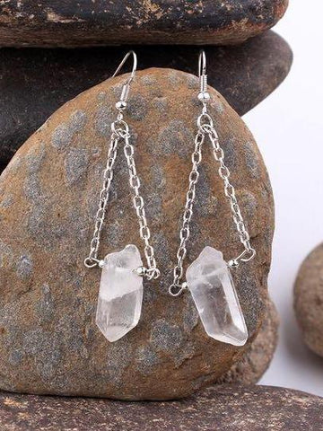 Multicolor Quartz Stone Pendant Earrings - INS | Online Fashion Free Shipping Clothing, Dresses, Tops, Shoes