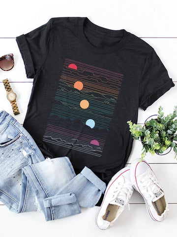 Multicolored Sunset Graphic Tee - INS | Online Fashion Free Shipping Clothing, Dresses, Tops, Shoes