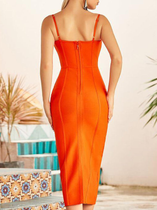 Neon Orange Bustier Bandage Dress - INS | Online Fashion Free Shipping Clothing, Dresses, Tops, Shoes