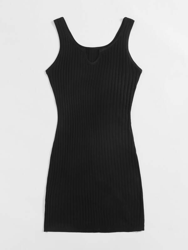 Notch Neck Rib-knit Sweater Dress - INS | Online Fashion Free Shipping Clothing, Dresses, Tops, Shoes