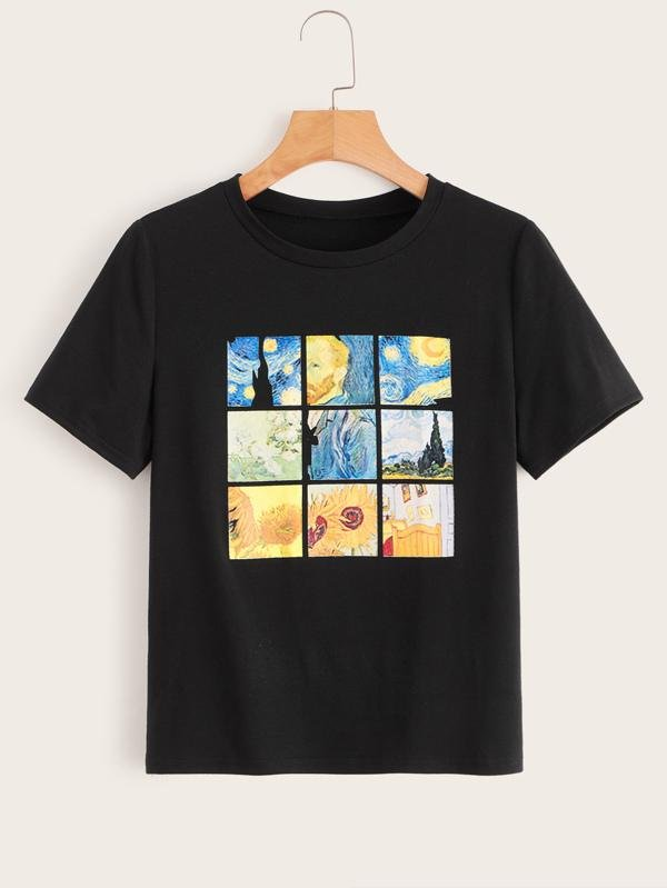 Oil Painting Print Tee - INS | Online Fashion Free Shipping Clothing, Dresses, Tops, Shoes